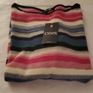 Chaps striped sweater size Petite Large NWT
